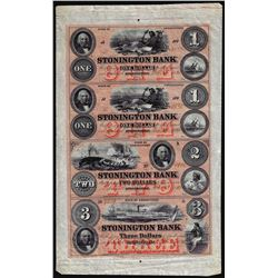 Uncut Sheet of $1/$1/$2/$3 1880 Stonington Bank Connecticut Obsolete Notes