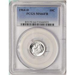 1964-D Roosevelt Dime Coin PCGS MS66FB