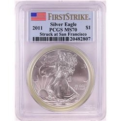 2011 Struck at San Francisco $1 American Silver Eagle Coin PCGS MS70 First Strike