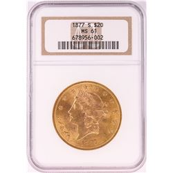 1877-S $20 Liberty Head Double Eagle Gold Coin NGC MS61