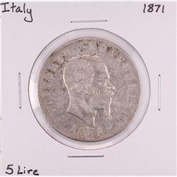 1871 Italy 5 Lire Silver Coin