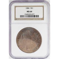 1886 $1 Morgan Silver Dollar Coin NGC MS64 Amazing Toning