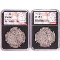 Lot of 1891 & 1892-O $1 Morgan Silver Dollar Coins NGC Genuine
