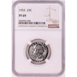 1953 Proof Washington Quarter Coin NGC PF69