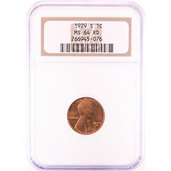 1929-S Lincoln Wheat Cent Coin NGC MS64RD