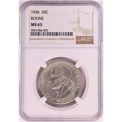 1936 Boone Commemorative Half Dollar Coin NGC MS63
