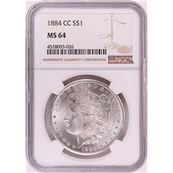 1884-CC $1 Morgan Silver Dollar Coin NGC MS64