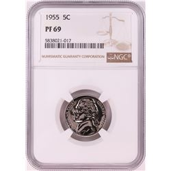 1955 Proof Jefferson Nickel Coin NGC PF69