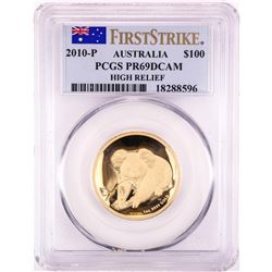 2010-P Australia $100 Proof Koala High Relief Gold Coin PCGS PR69DCAM