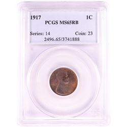 1917 Lincoln Wheat Cent Coin PCGS MS65RB