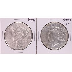 Lot of 1927 & 1927-D $1 Peace Silver Dollar Coins