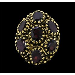 14KT Yellow Gold Ladies 10.50 ctw Garnet Dome Cluster Ring