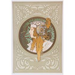Byzantine Head: Blonde, Alphonse Mucha