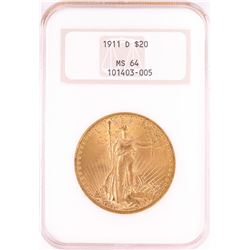 1911-D $20 St. Gaudens Double Eagle Gold Coin NGC MS64