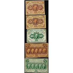 Lot of (5) First Issue Fractional Currency Notes