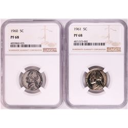 Lot of 1960-1961 Proof Jefferson Nickel Coins NGC PF68