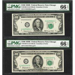 Lot of (2) 1950E $100 Federal Reserve Notes Chicago PMG Gem Uncirculated 66EPQ