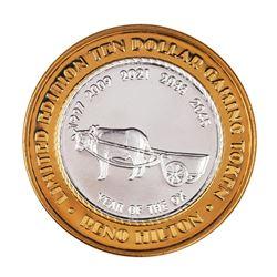 .999 Silver Reno Hilton Nevada $10 Casino Limited Edition Gaming Token