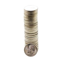 Roll of (50) Brilliant Uncirculated 1954-S Roosevelt Dime Coins