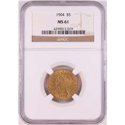 1904 $5 Liberty Head Half Eagle Coin NGC MS61