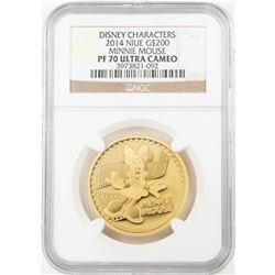 2014 $200 Proof Niue Disney Minnie Mouse Gold Coin NGC PF70 Ultra Cameo