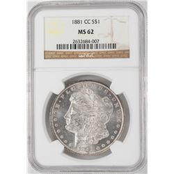 1881-CC $1 Morgan Silver Dollar Coin NGC MS62