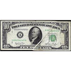 1950 $10 Federal Reserve Multiple Gutter Fold ERROR Note