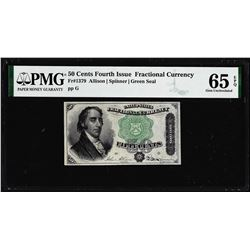 1863 50 Cent Fourth Issue Fractional Currency Note Fr.1379 PMG Gem Uncirculated 65EPQ