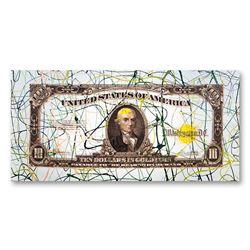 """Steve Kaufman (1960-2010) """"1922 Ten Dollar in Gold Bill"""" Limited Edition Silkscreen"""