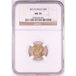 2013 $5 American Gold Eagle Coin NGC MS70