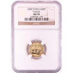 2009 China 50 Yuan 1/10 oz Gold Panda Coin NGC MS70