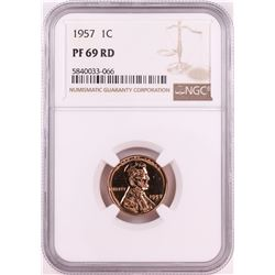 1957 Proof Lincoln Wheat Cent Coin NGC PF69RD