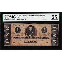 1864 $1 Confederate States of America Note T-71 PMG About Uncirculated 55
