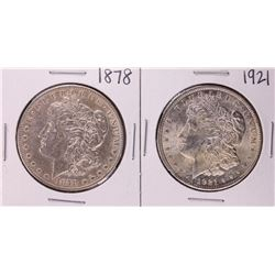 1878 & 1921 First & Last Year $1 Morgan Silver Dollar Coin Set