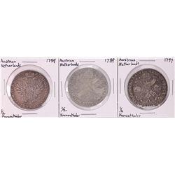 Lot of (3) Austrian Netherlands 1/2 Kronenthaler Silver Coins