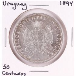 1894 Uruguay 50 Centavos Silver Coin