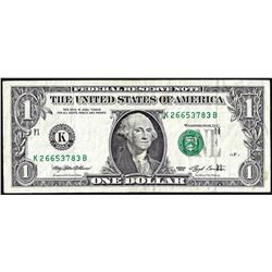1993 $1 Federal Reserve Printing Shift ERROR Note