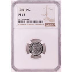 1955 Proof Roosevelt Dime Coin NGC PF68
