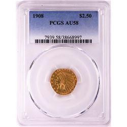 1908 $2 1/2 Indian Head Quarter Eagle Gold Coin PCGS AU58