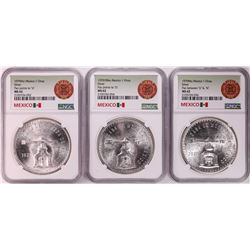 Lot of (3) 1979Mo Mexico 1 Onza Silver Coins NGC MS62