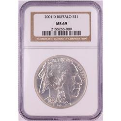 2001-D $1 Buffalo Commemorative Silver Dollar Coin NGC MS69