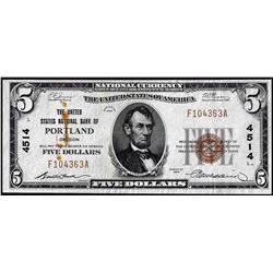 1929 $5 United States National Bank of Portland, OR CH# 4514 National Currency Note