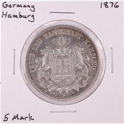 1876 Germany Hamburg 5 Mark Silver Coin