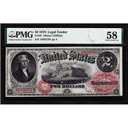 1878 $2 Legal Tender Note Fr.48 PMG Choice About Uncirculated 58