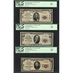 1929 $5/10/20 Citizens NB Washington, PA CH# 3383 National Currency Notes PCGS VF20