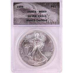 1994 $1 American Silver Eagle Coin ANACS MS69
