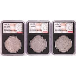 Lot of 1890, 1891, & 1892-O $1 Morgan Silver Dollar Coins NGC Genuine