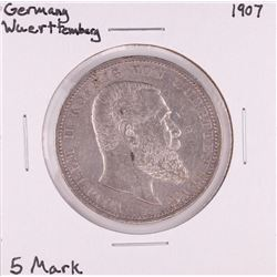 1907 Germany Wuerttemberg 5 Mark Silver Coin