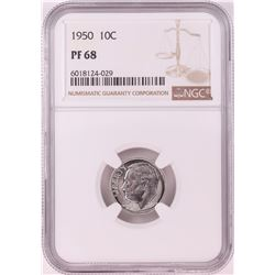 1950 Proof Roosevelt Dime Coin NGC PF68