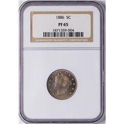 1886 Proof Liberty Head V Nickel Coin NGC PF65 Amazing Toning